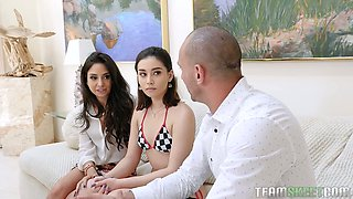 Lovely brunette Aria Lee is fucked by stepsister and her husband