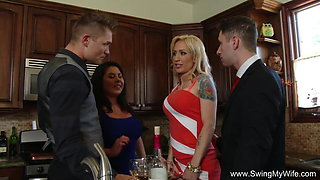 Two Swinger Couples Fucking Together At Home