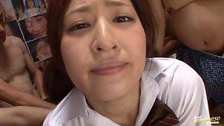 Massive bukkake facial with pretty schoolgirl Ichika Kuroki