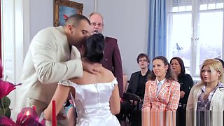 Gorgeous bride dominated after wedding