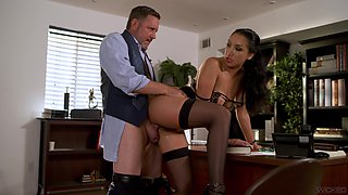 Spicy hot secretary Vicki Chase fucks her boss and that babe is so hot