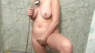 Brunette babe Pantera toys her ass and pussy with her dildo