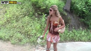 Professional Thai prostitute Tiffany swallows dick in the public park