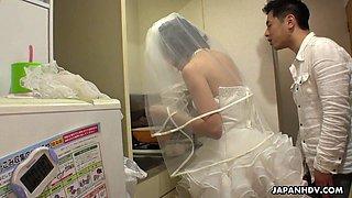 Japanese bride Ruri Narumiya bends over being fucked doggy style