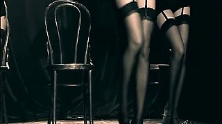 Abi Titmuss in lingerie does some sexy strip dance with two