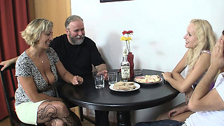Family meeting leads to taboo threesome sex