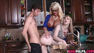 Dolly Leigh gets rail as she bend over on the kitchen counter