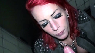 Pick up a real german redhead prostitute and fuck in toilet