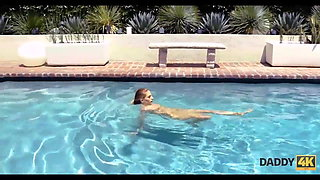 DADDY4K. Skinny nymph copulates with BF's father in the swimming pool
