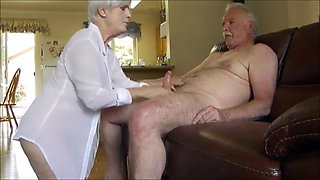 Very hot gilf sucking a older bull's dick while cuck is recording