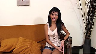 Charming Filipina enjoying hard sex on the couch