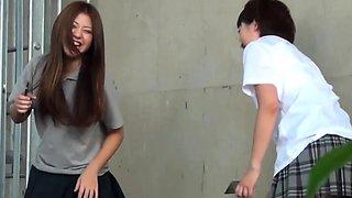 Asian teens in highschool uniforms piss
