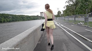 Jeny Smith public flasher shares great upskirt views on the streets