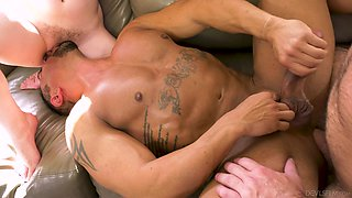 Slutty Bunny Colby has fun with two aroused bisexual dudes during threesome