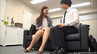 Quickie fucking in the office with a nice tits Japanese chick