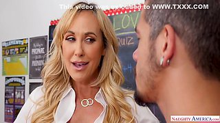 Busty blonde teacher with big tits is well known for fucking her students, once in a while