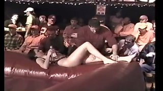 Bouncy mat oil wrestling