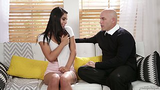 Pretty flat chested Brazilian hottie Gina Valentina lures neighbor for sex
