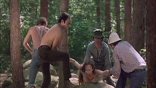 Four Horny Lumberjacks Abuse a Sexy Blonde who Got Lost In The Forest