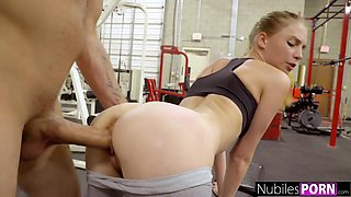 Sporty teen Ava Parker is so busy with sucking delicious cock in the gym