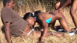african bitch getting threesomed in the middle of a savanna