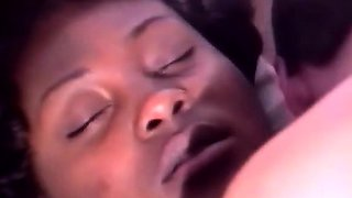 Innocent ebony with hot legs gets her pussy pounded by two