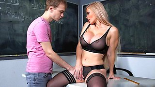 Mom is a teacher undressed to stockings and pants large milkings durin...