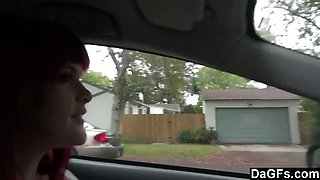 Redhead Emo Showing Tits In Car