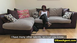 Casted ebony riding on cock