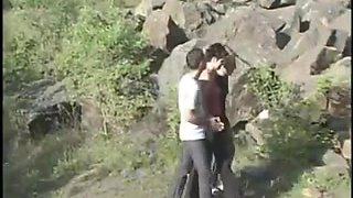 Bisexual threesome sex video in public with one girl