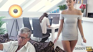 Cute wench Erica is cheating on her boyfriend with his step daddy