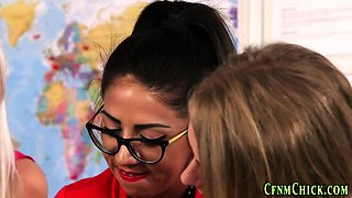 Cfnm brits in office jerk naked colleague