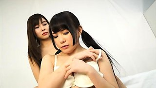 Two sexy Japanese lesbians fulfill their foot fetish desires