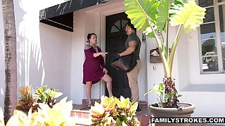 Naughty babe Penelope White seduces her step uncle and rides his big cock