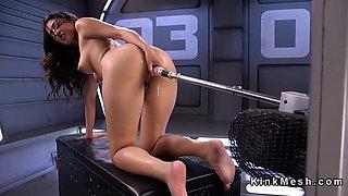 Slim latina cutie rides fucking machine