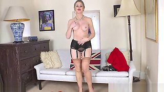 Big tits brunette Milf Sofia Rae strips and wanks in nylons and fancy heels