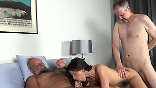 Old Young Porn Group fucked Teen Takes 2 grandpa cocks