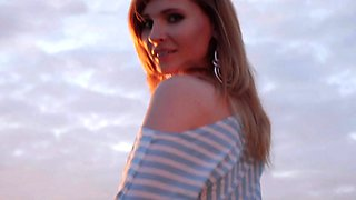 Jeny Smith fishnet pantyhose public flashing