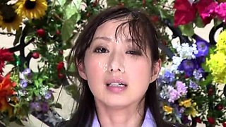 Pretty Japanese babes get their faces covered in hot semen