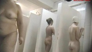 Nice looking broads showing everything on a voyeur bath cam