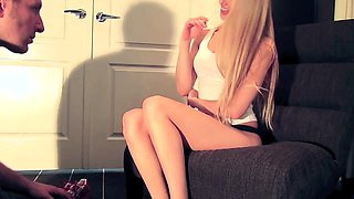 Stunning blonde babe makes her slave lick her delicious toes
