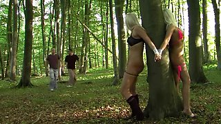 I tied two sluts to a tree in my blonde amateur video