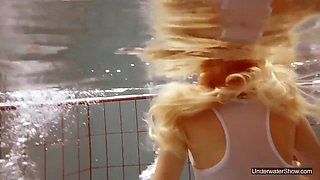 Nudist Babes In The Pool Underwater Stripping