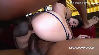Amazing brunette, Mandy Muse is sucking a big, black dick and getting it up her butt