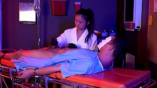 LULU CHU AND ELLA CRUZ GET A SAMPLE FROM FROM THE PATIENT