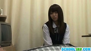 Hot teen in school uniform riding cock with her shaved pussy