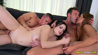 Girlfriends swap guys during a crazy, hardcore foursome