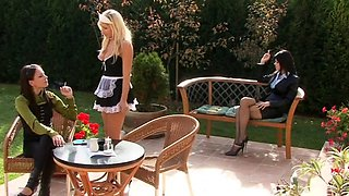 Kinky mature honey drinks a glass of piss and gives blow job