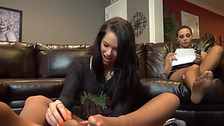Babysitter footjob, wife unaware