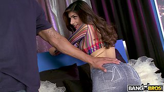 Closeup video of pussy eating and fucking with busty Mia Khalifa